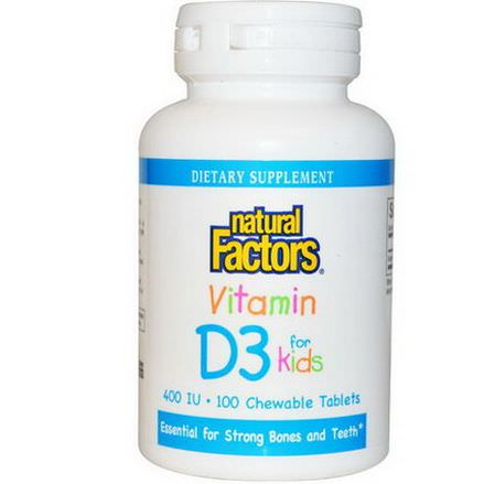 Natural Factors, Vitamin D3 for Kids, Strawberry Flavor, 400 IU, 100 Chewable Tablets