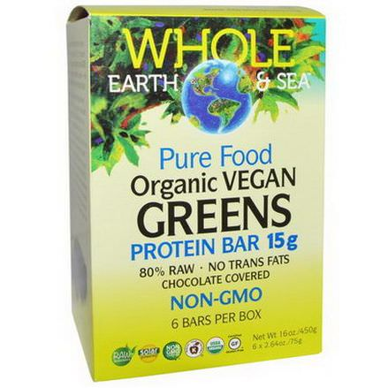 Natural Factors, Whole Earth&Sea, Pure Food Organic Vegan Greens Protein Bars, Chocolate Covered, 6 Bars 75g Each