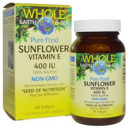 Natural Factors, Whole Earth&Sea, Sunflower Vitamin E, 400 IU, 90 Softgels