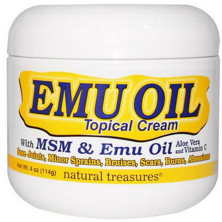 Natural Treasures, BNG, EMU OIL, Topical Cream, with MSM&Emu Oil 114g