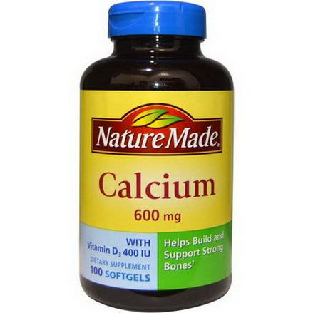 Nature Made, Calcium with Vitamin D3 400 IU, 600mg, 100 Softgels