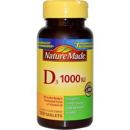 Nature Made, D3, Vitamin D Supplement, 1000 IU, 100 Tablets