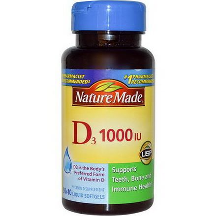 Nature Made, Vitamin D3, 1000 IU, 90 10 Liquid Softgels
