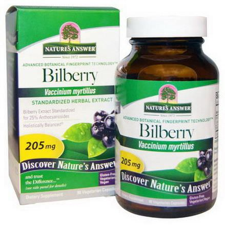 Nature's Answer, Bilberry, Standardized Herbal Extract, 205mg, 90 Veggie Caps
