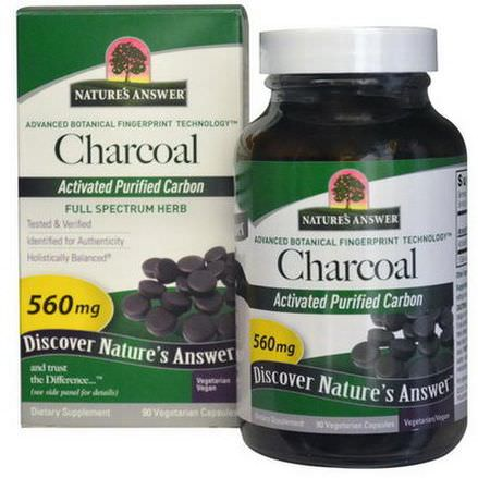 Nature's Answer, Charcoal, Activated Purified Carbon, 560mg, 90 Veggie Caps