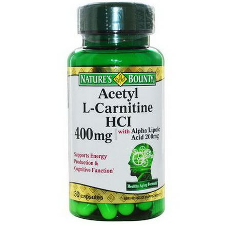 Nature's Bounty, Acetyl L-Carnitine HCI, 400mg, 30 Capsules