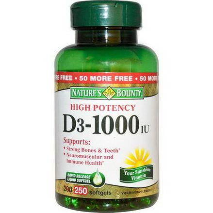 Nature's Bounty, D3-1000 IU, High Potency, 250 Softgels