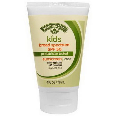 Nature's Gate, Kids, Broad Spectrum SPF 50 Sunscreen, Lotion, Fragrance-Free 118ml