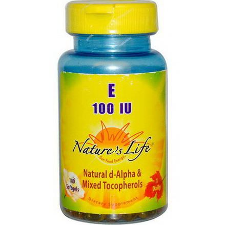Nature's Life, E, Natural D-Alpha&Mixed Tocopherols, 100 IU, 100 Softgels