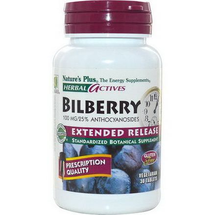 Nature's Plus, Herbal Actives, Bilberry, Extended Release, 100mg, 30 Veggie Tabs