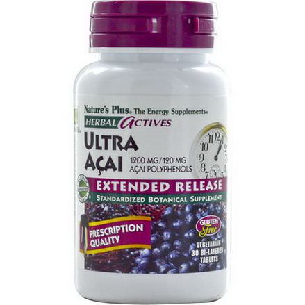 Nature's Plus, Herbal Actives, Ultra Acai, Extended Release, 1200mg, 30 Bi-Layered Tablets