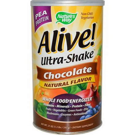 Nature's Way, Alive! Ultra-Shake, Pea Protein, Chocolate 597g