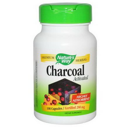 Nature's Way, Charcoal, Activated, 280mg, 100 Capsules
