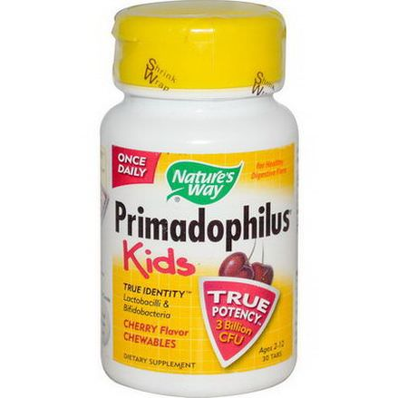 Nature's Way, Primadophilus, Kids, Cherry Flavor Chewables, Ages 2-12, 30 Tablets