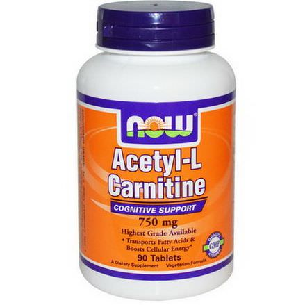 Now Foods, Acetyl-L Carnitine, 750mg, 90 Tablets