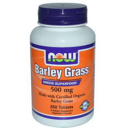 Now Foods, Certified Organic Barley Grass, Green Superfood, 500mg, 250 Tablets