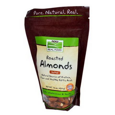 Now Foods, Real Food, Roasted Almonds, with Sea Salt 454g