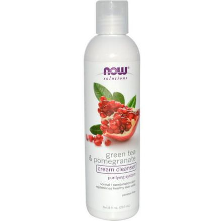 Now Foods, Solutions, Cream Cleanser, Green Tea&Pomegranate 237ml