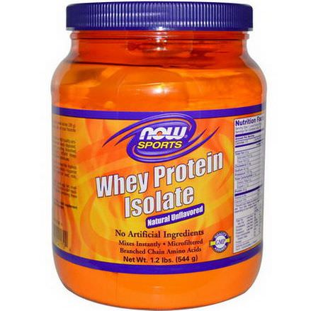 Now Foods, Sports, Whey Protein Isolate, Powder, Natural Unflavored 544g