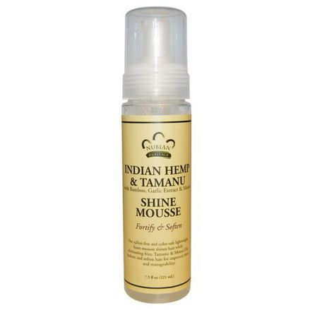 Nubian Heritage, Shine Mousse, Indian Hemp&Tamanu with Bamboo, Garlic Extract&Monoi 221ml