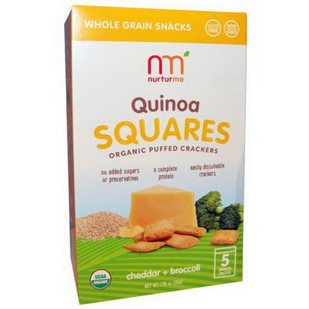 NurturMe, Quinoa Squares, Organic Puffed Crackers, Cheddar Broccoli, 5 Snack Packs, 10g Each