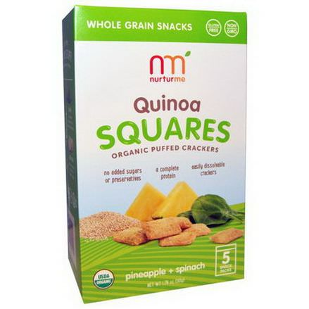 NurturMe, Quinoa Squares, Organic Puffed Crackers, Pineapple Spinach, 5 Snack Packs, 10g Each