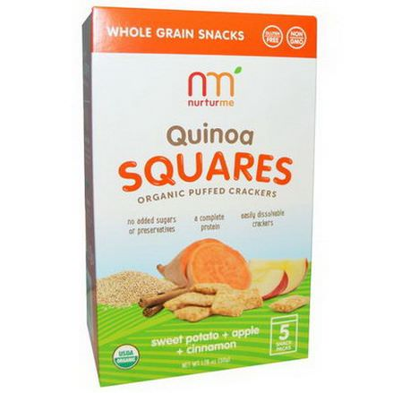 NurturMe, Quinoa Squares, Organic Puffed Crackers, Sweet Potato Apple Cinnamon, 5 Snack Packs, 10g Each