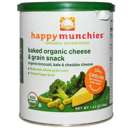 Nurture Inc. Happy Baby, Happymunchies, Baked Organic Cheese&Grain Snack, Organic Broccoli, Kale&Cheddar Cheese 46g