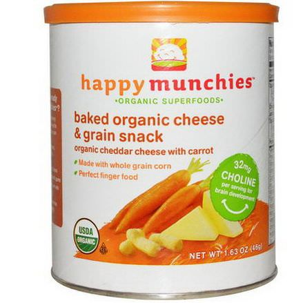 Nurture Inc. Happy Baby, Happymunchies, Baked Organic Cheese&Grain Snack, Organic Cheddar Cheese with Carrot 46g