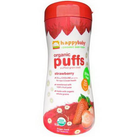Nurture Inc. Happy Baby, Organic Baby Food, Organic Puffs, Strawberry 60g