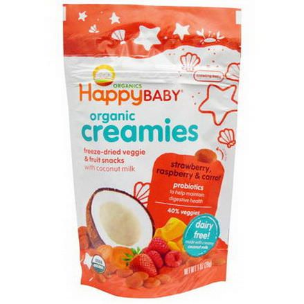 Nurture Inc. Happy Baby, Organic Creamies, Freeze-Dried Veggie&Fruit Snacks, Strawberry, Raspberry&Carrot 28g