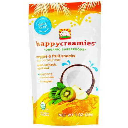 Nurture Inc. Happy Baby, happycreamies, Veggie&Fruit Snacks, Apple, Spinach, Pea&Kiwi 28g
