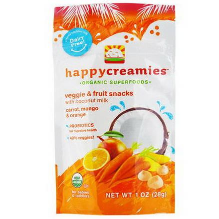Nurture Inc. Happy Baby, happycreamies, Veggie&Fruit Snacks, Carrot, Mango&Orange 28g