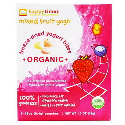 Nurture Inc. Happy Baby, happytimes, Organic Freeze-Dried Yogurt Bites, Mixed Fruit Yogis, 5 Pouches 8.4g Each