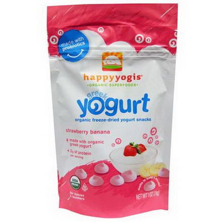 Nurture Inc. Happy Baby, happyyogis, Greek Yogurt, Strawberry Banana 28g
