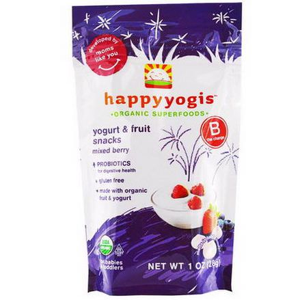 Nurture Inc. Happy Baby, happyyogis, Yogurt&Fruit Snacks, Mixed Berry 28g