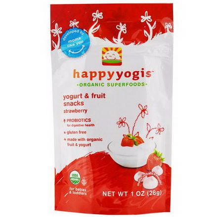 Nurture Inc. Happy Baby, happyyogis, Yogurt&Fruit Snacks, Strawberry 28g