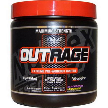 Nutrex Research Labs, Outrage, Extreme Pre-Workout Igniter, Blackberry Lemonade 204g