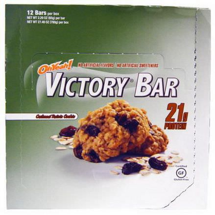 Oh Yeah, Victory Bar, Oatmeal Raisin Cookie, 12 Bars 65g Each
