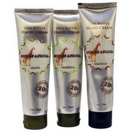 Out of Africa, Shea Butter Hand Cream Set, 3 Tubes 28.3g Each