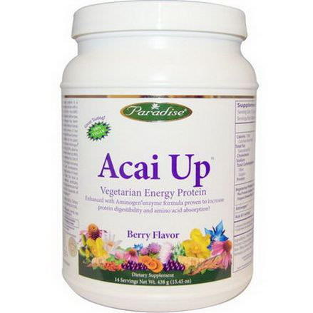 Paradise Herbs, Acai Up, Vegetarian Energy Protein, Berry Flavor 438g