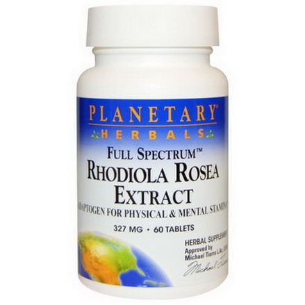 Planetary Herbals, Rhodiola Rosea Extract, Full Spectrum, 327mg, 60 Tablets