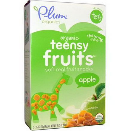 Plum Organics, Tots, Teensy Fruits, Apple, 12+ Months, 5 Packs 10g Each
