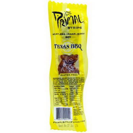 Primal Spirit Foods Inc, Strips, Meatless Vegan Jerky, Soy, Texas BBQ, 24 Count 28g Each
