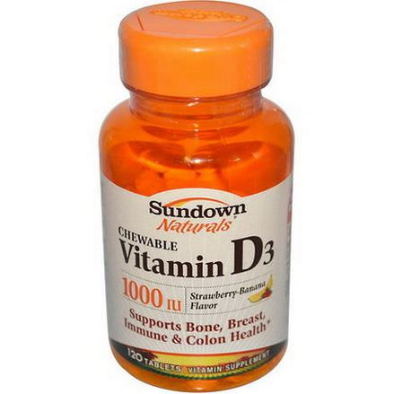 Rexall Sundown Naturals, Chewable Vitamin D3, Strawberry-Banana Flavor, 1000 IU, 120 Tablets