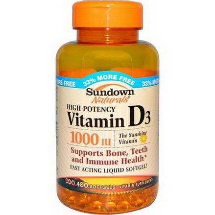 Rexall Sundown Naturals, High Potency Vitamin D3, 1000 IU, 400 Softgels