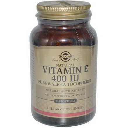 Solgar, Natural Vitamin E, 400 IU, 100 Softgels