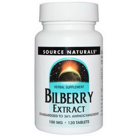 Source Naturals, Bilberry Extract, 100mg, 120 Tablets