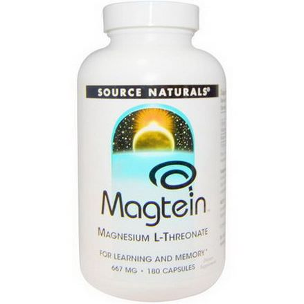 Source Naturals, Magtein, Magnesium L-Threonate, 667mg, 180 Capsules
