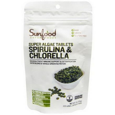 Sunfood, Spirulina&Chlorella, Super Algae Tablets, 250mg, 225 Tablets